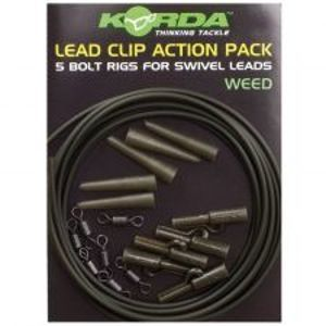 Korda Montáž Lead Clip Action Pack 5 ks-Weed